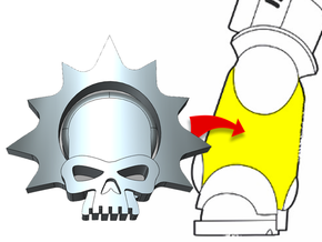 20x Halo Skull - Small Bent Insignias (5mm) in Smooth Fine Detail Plastic