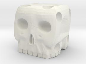 Skull Die 6 Sided Skeleton Bone Dice in White Natural Versatile Plastic