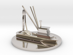 Fishing Boat Game Piece on 40mm disk in Rhodium Plated Brass
