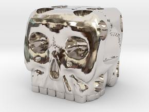 Skull Die 6 Sided Skeleton Bone Dice in Platinum