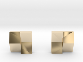 Chequered Earrings in 14k Gold Plated Brass: Small