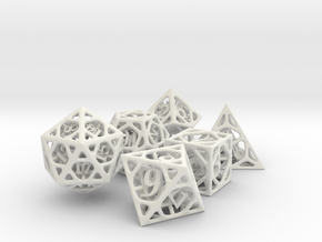 Cage Dice Set in White Premium Versatile Plastic