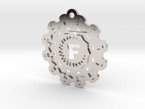 Magic Letter F Pendant in Rhodium Plated Brass
