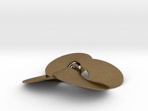 pendant p c trefoil knots 1 mm interlocked in Natural Bronze (Interlocking Parts)