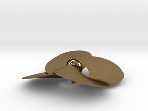 pendant p c trefoil knots 0.6 mm + interlocked in Natural Bronze (Interlocking Parts)