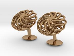 SpiralCufflinks2 in Polished Brass