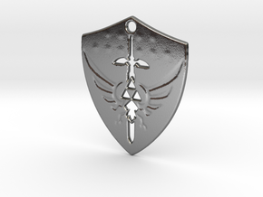Zelda Triforce Hylian Shield Pendant in Polished Silver