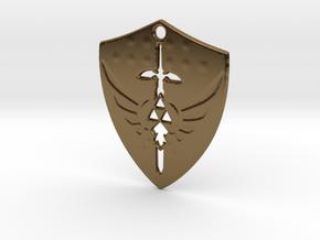 Zelda Triforce Hylian Shield Pendant in Polished Bronze