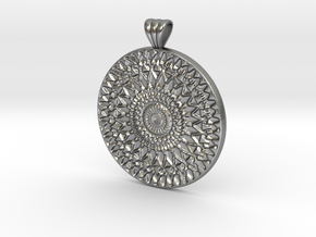 Filigree Mandala with scalloped bail in Natural Silver