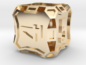 Large d6 - Custom in 14k Gold Plated Brass