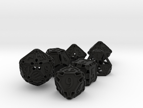 Large Premier Dice Set with Decader in Black Premium Versatile Plastic