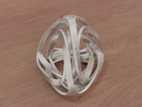 Twisted Tetrahedron (Thin) in White Natural Versatile Plastic: Small