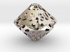 Large Premier Decader d10 in Rhodium Plated Brass