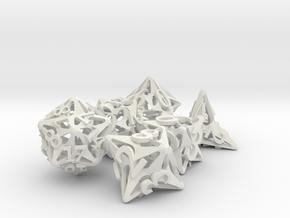 Pinwheel Dice Set in White Premium Versatile Plastic