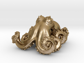 Octopus pendant in Polished Gold Steel: Small