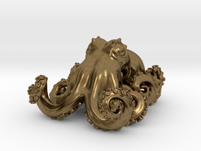 Octopus pendant in Natural Bronze: Small