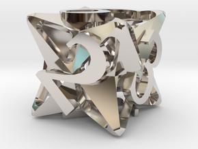 Pinwheel d6 Ornament in Rhodium Plated Brass
