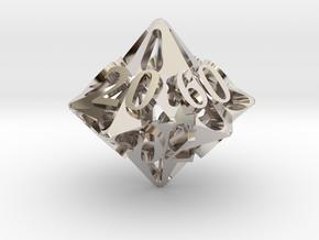 Pinwheel d10 Decader Ornament in Platinum