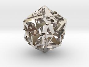 Pinwheel Die20 Ornament in Rhodium Plated Brass