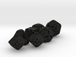 Premier Dice Set with Decader in Black Premium Versatile Plastic