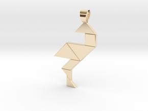 Wading bird tangram [pendant] in 14K Yellow Gold