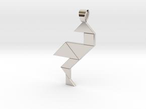Wading bird tangram [pendant] in Rhodium Plated Brass