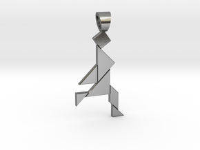 Jogger tangram [pendant] in Polished Silver