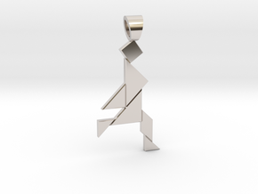 Jogger tangram [pendant] in Rhodium Plated Brass