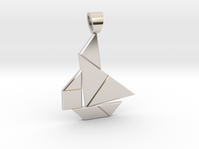Boat tangram [pendant] in Rhodium Plated Brass