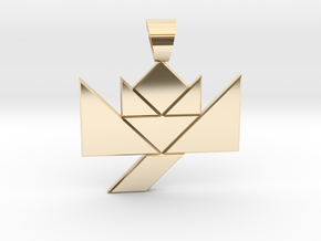 Flower tangram [pendant] in 14k Gold Plated Brass