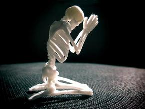 "Skeleton ""Pray..."" in White Natural Versatile Plastic"