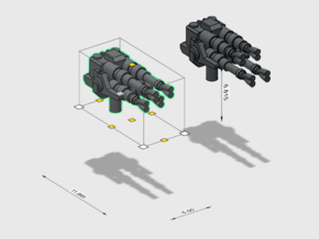 Medium/Large ship Quad cannons -firing positions 2 in Smoothest Fine Detail Plastic