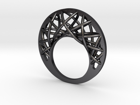 Medusa Ring in Polished and Bronzed Black Steel: 10 / 61.5
