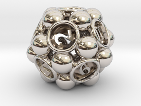 Spore d12 in Rhodium Plated Brass