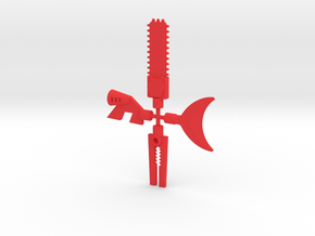 Triumveron weapons with 5mm pegs in Red Processed Versatile Plastic