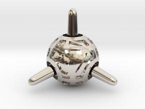 Sputnik Die4 in Rhodium Plated Brass