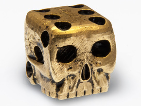 Skull Die 6 Sided Skeleton Bone Dice in Natural Brass