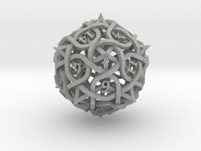 Interwoven Geometric Vines and Thorns D20 in Aluminum
