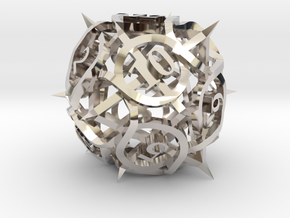 Thorn d12 Ornament in Rhodium Plated Brass