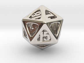 Thoroughly Modern d20 in Rhodium Plated Brass