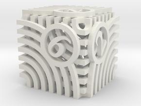 Moiré Die6 in White Premium Versatile Plastic