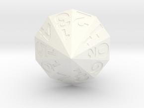 d20 Decagonal Bipyramid in White Processed Versatile Plastic