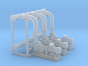 HO Scale Pump Section 3 Pumps in Smooth Fine Detail Plastic
