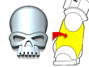 20x Skull - Small Bent Insignias (5mm) in Smooth Fine Detail Plastic