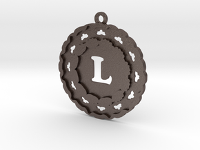 Magic Letter L Pendant in Polished Bronzed Silver Steel