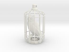 Horned Owl Charm in White Natural Versatile Plastic