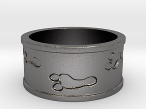 Mutant Footprints Ring (Metal) in Polished Nickel Steel: 7.5 / 55.5