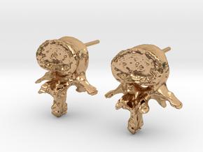 Garden Gnome's L-3 Lumbar Vertebra Earstuds in Polished Bronze