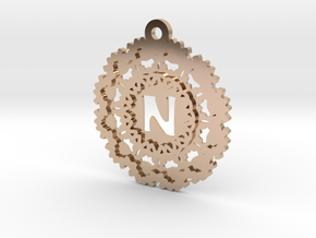Magic Letter N Pendant in 14k Rose Gold Plated Brass