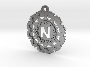 Magic Letter N Pendant in Natural Silver